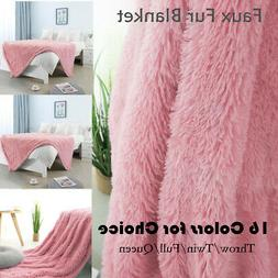 solid decorative long shaggy faux fur blanket