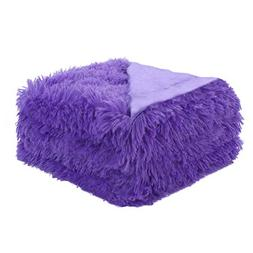 """uxcell Solid Faux Fur Throw Blanket 50"""" x 60"""" - Decorative L"""