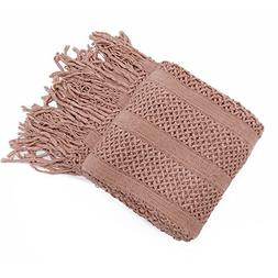 Battilo Solid Knit Mesh Tassels Throw Blanket Super Soft War