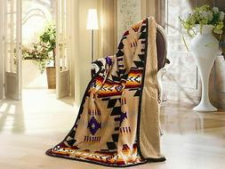 Southwest Design  Sherpa Lined Throw 16112 Camel