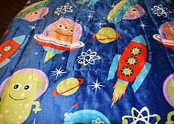 NEW SPACE SHIPS, ALIENS & SPACE BOY BLUE COLOR PLUSH MINK