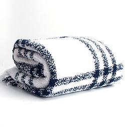 "battilo Sriped Throw Blanket, 60"" L x 50"" W, Navy/White"