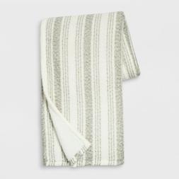 Stripe Boucle Reverse to Sherpa Throw Blanket - Cream/Gray -