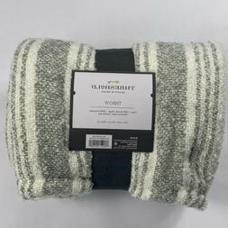 threshold stripe reverse to sherpa throw blanket cream/gray