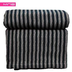 Striped Full/Queen Cotton Throw Blanket, Breathable Thermal