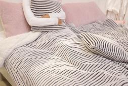 Battilo Striped Super Fluffy Reversible Sherpa Throw Blanket