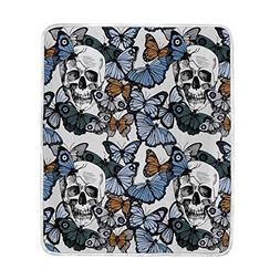 ALAZA Sugar Skull Day The Dead Halloween Butterfly Floral Pl