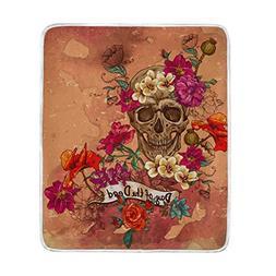 Sugar Skull Dia De Los Muertos Throw Blanket, Lightweight Wa