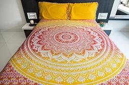 Ombre Mandala Bedspread with Pillow Covers, Indian Bohemian