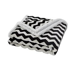 Super Soft Black White Chevron Sherpa Throw Blanket