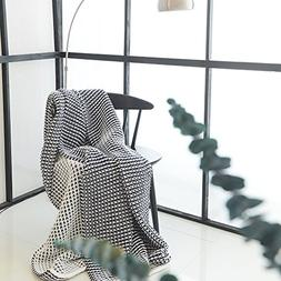 DOUH Super Soft Cashmere Kint Throw Blanket-51x63inches/Navy