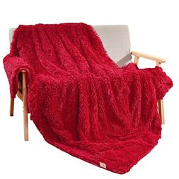 "Decosy Super Soft Faux Fur Couch Blanket Rose Red 50""x 60"" -"