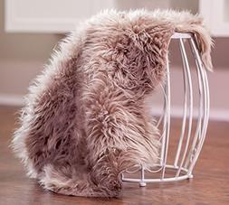 Chanasya Super Soft Faux Fur Fake Sheepskin brown Sofa Couch