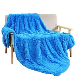 Decosy Super Soft Faux Fur Warm Cozy Throw Blanket Royal Blu