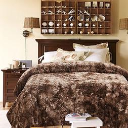 Chanasya Faux Fur Bed Blanket   Super Soft Fuzzy Light Weigh