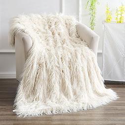 Ojia Super Soft Fuzzy Shaggy Mongolian Lamb Throw Blanket Pl