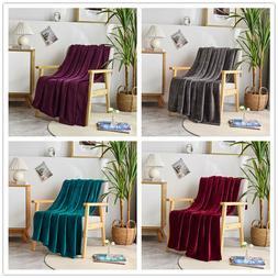 Super Soft Luxurious Plush Fleece Throw Blanket Light Solid