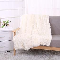 YOUSA Super Soft Shaggy Faux Fur Blanket Ultra Plush Decorat