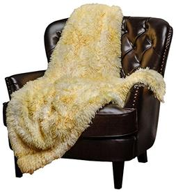 Chanasya Faux Fur Sherpa Throw Blanket   Color Variation Mar
