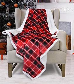 "Super Soft Sherpa Throw Blanket Plaid 50"" x 60"" Reversible F"