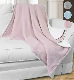 Catalonia Super Soft Sherpa Throws,Reversible Cozy Waffle Pa