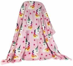 Super Soft Unicorn and Star Throw Blanket Pink 60in  x 50in