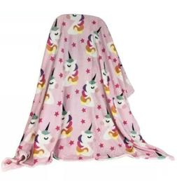 Super Soft Unicorn and Star Throw Pink Blanket 50x60 Inches