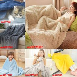 Super Soft Warm Plain Warm Micro Plush Fleece Blanket Throw