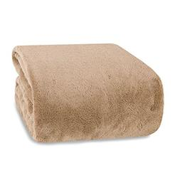 Berkshire Blanket Supremely Serasoft Plush Throw, Chino