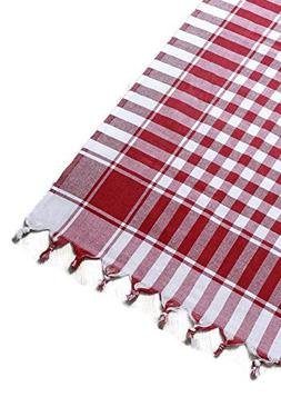 fdm Tablecloth red fringed square checkered cotton plaid pic