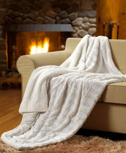 Tache New Super Soft Ivory Polar Faux Fur With Sherpa Throw