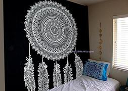 Tapestry Black And White Dream Catcher Mandala Cotton Wall H