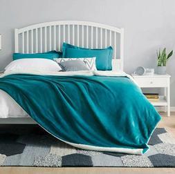 Teal Bedsure Sherpa Fleece Blanket Queen Size Plush Throw Bl