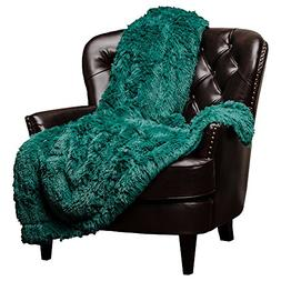 Teal Soft Long Shaggy Chic Faux Fur Elegant Throw Blanket by