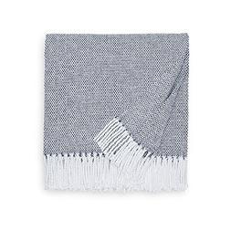 Sferra Terzo Throw - 100% Brushed Cotton - Navy/White