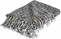 "DII Textured 100% Acrylic Woven Throw Blanket, 50"" x 60"", Bl"