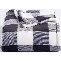 The Big One Supersoft Plush Throw Black White Buffalo Check