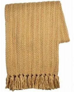 Threshold Gold Chunky Knit Throw Blanket Soft & Cozy Warm