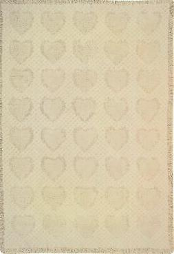 Manual 46 X 60-Inch Throw, Basketweave Heart in Natural Cott
