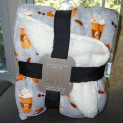 Throw Blanket Berkshire Plush Fleece Coffee Latte Pumpkin Pi