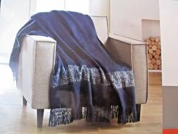 Better Homes and Gardens Throw Blanket Blue Faux Mohair Frin