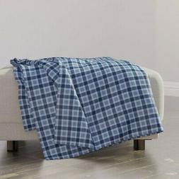 Throw Blanket Blue Plaid Check Gingham Art Deco Mid-Century