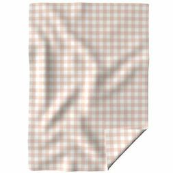 Throw Blanket Blush Pink Baby Girl Gingham Check Gingham Buf