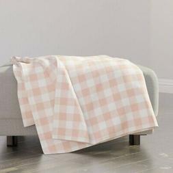 Throw Blanket Buffalo Check Plaid Blush Pink Baby Girl Gingh
