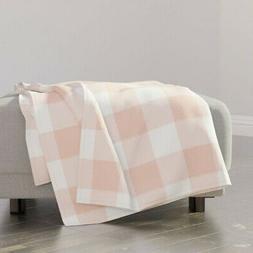 Throw Blanket Buffalo Check Messy Pink Gingham Large Blush P