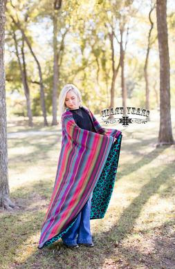 Crazy Train Throw Blanket Bright Colorful Serape and Leopard