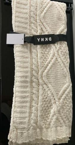 """DKNY Throw Blanket Chenille Cable Knit Ivory 50"""" x 60"""""""