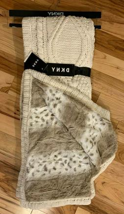 DKNY Throw Blanket Chenille Cable Knit with Faux Fur Cheetah