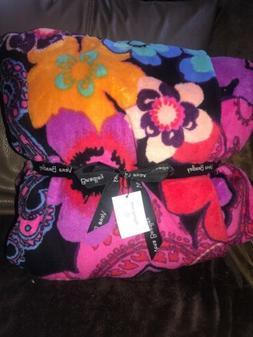 """vera bradley throw blanket Floral Fiesta Beautiful 80 """" By 5"""