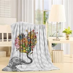 Throw Blanket Funny Elephants Chevron Printed Zig Zag Soft F